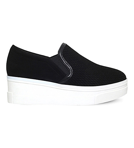 KG KURT GEIGER Lizard leather flatform trainers (Black