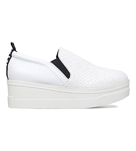 KG KURT GEIGER Lizard faux-leather flatform trainers (White