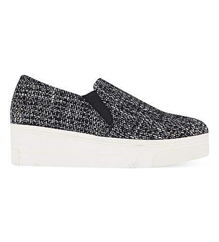 KG KURT GEIGER Lizard tweed flatform slip on trainers (Grey/other