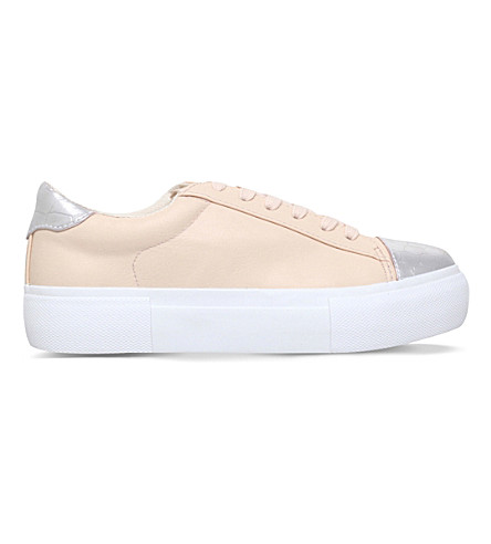 MISS KG Loco faux-leather flatform trainers (Nude