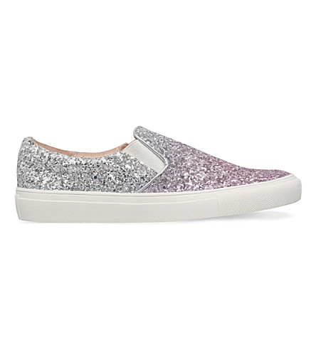KG KURT GEIGER Lyon sequined-embellished leather trainers (Pink+comb