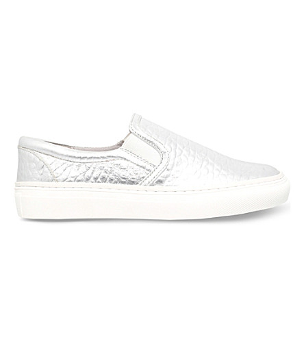 KG KURT GEIGER Lyon metallic-leather trainers (Silver