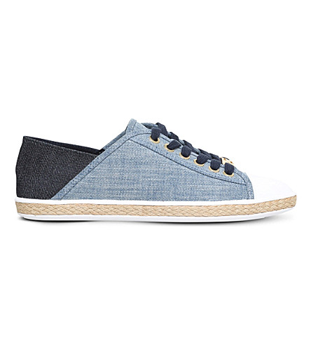 MICHAEL MICHAEL KORS Kristy leather and canvas espadrille trainers (Denim