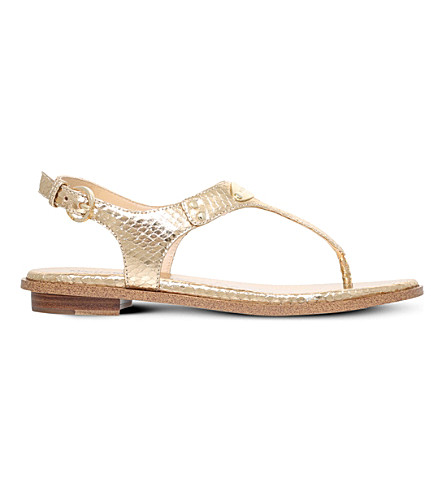 MICHAEL MICHAEL KORS MK Plate reptile-embossed metallic leather sandals (Gold