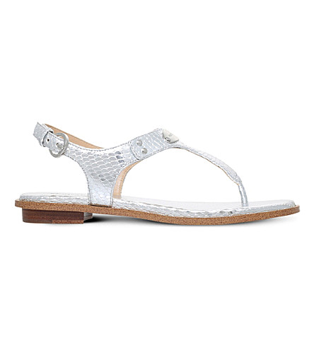 MICHAEL MICHAEL KORS MK Plate reptile-embossed metallic leather sandals (Silver