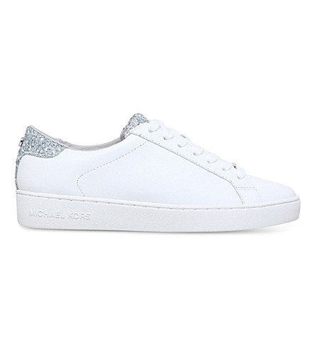 ... MICHAEL MICHAEL KORS Irving glitter and leather trainers (White.  PreviousNext
