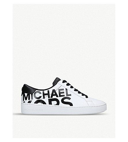 MICHAEL MICHAEL KORS Irving logo-print leather trainers (White/blk