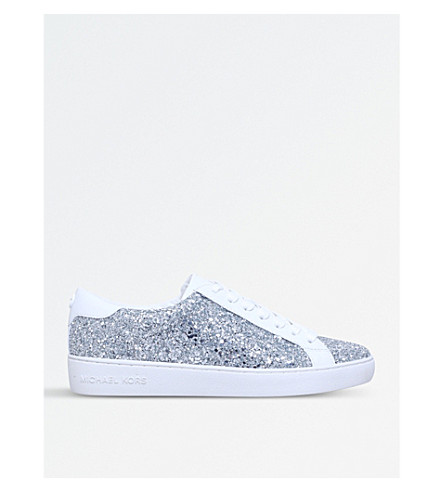 MICHAEL MICHAEL KORS Irving glitter and leather trainers (Silver