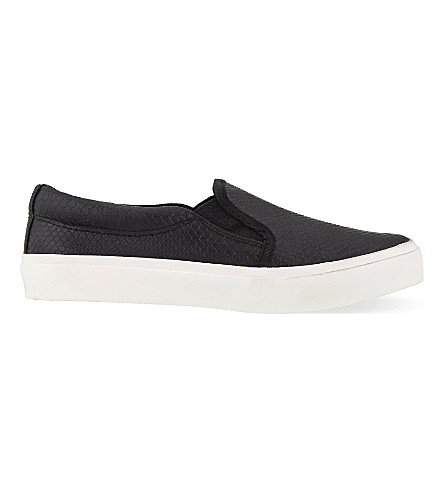 MISS KG Leon 2 snakeskin-textured trainers (Black