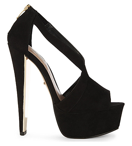 CARVELA Grow suede heeled peep-toe sandals (Black