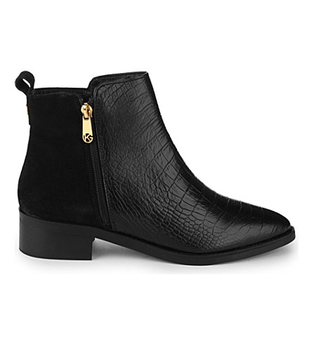 KG KURT GEIGER Sabre crocodile-embossed leather ankle boots (Black