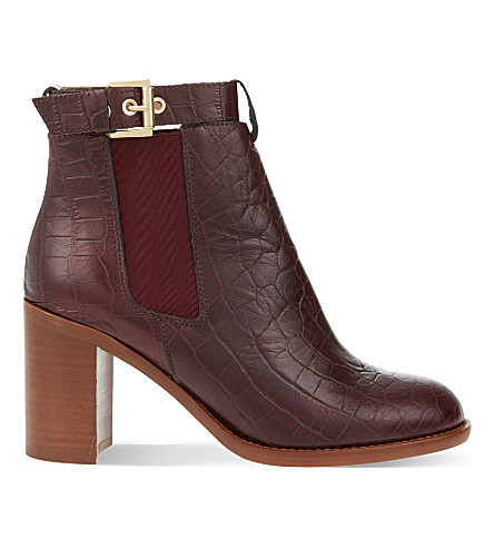 KG KURT GEIGER Sebastien leather heeled Chelsea boots (Wine