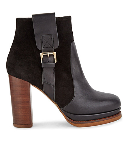 KG KURT GEIGER Sibling leather/suede contrasting ankle boots (Black