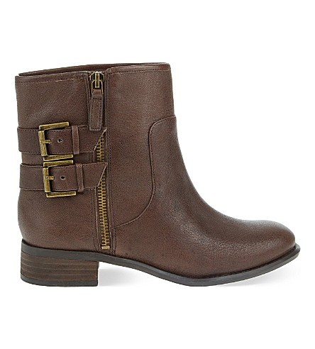 NINE WEST Justthis buckled leather ankle boots (Dark brown