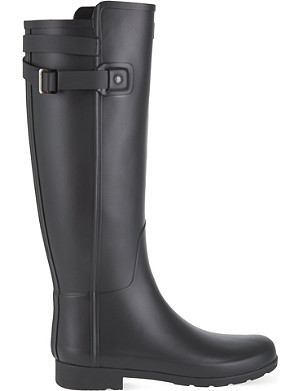 HUNTER Refined back strap high leg boots