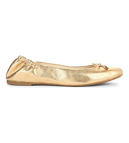 MICHAEL MICHAEL KORS Melody metallic-leather ballet flats (Gold