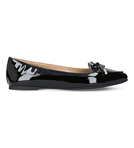 MICHAEL MICHAEL KORS Nancy bow-detail patent-leather flats (Black