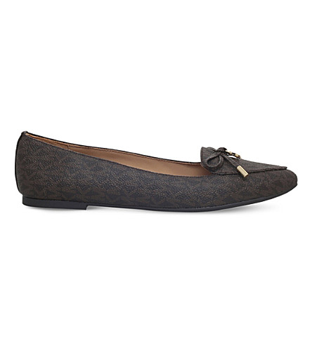 MICHAEL MICHAEL KORS Nancy monogram leather flats (Brown