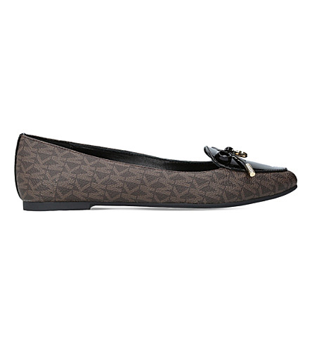 MICHAEL MICHAEL KORS Nancy monogram leather flats (Dk.brn+com