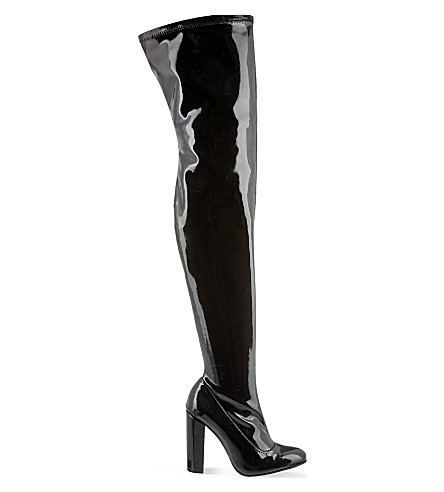 CARVELA Wolf patent leather thigh-high boots (Black