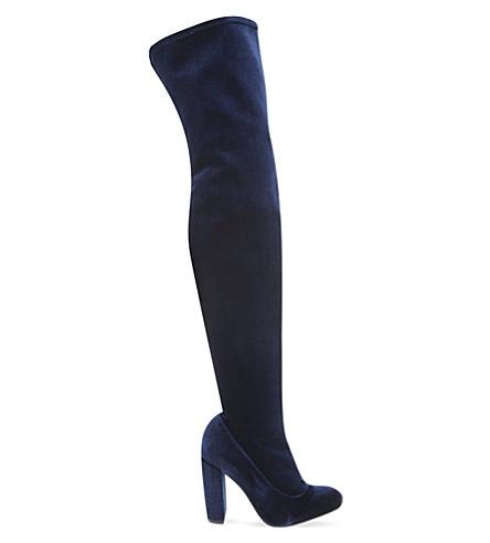 CARVELA Wolf velvet thigh-high boots (Navy