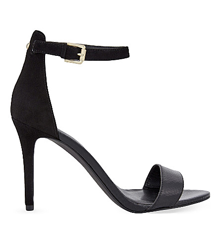 NINE WEST Mana suede & leather heeled sandals (Black