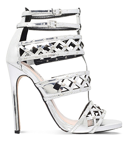 CARVELA Garland caged heeled sandals (Silver
