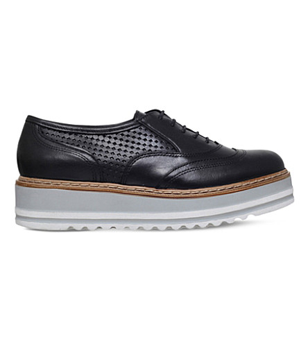 CARVELA Lasting leather flatform Oxford shoes (Black