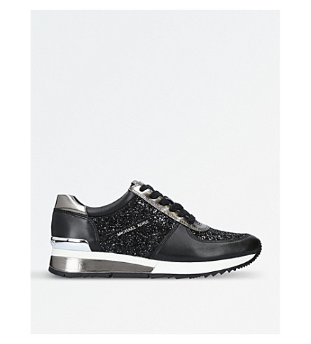 MICHAEL MICHAEL KORS Allie glitter and leather trainers (Blk/other
