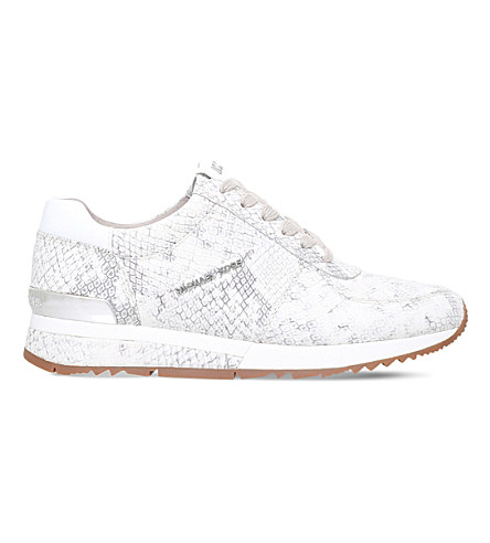 MICHAEL MICHAEL KORS Allie reptile-embossed leather trainers (Beige+comb
