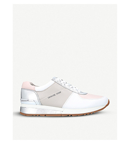 MICHAEL MICHAEL KORS Allie metallic leather trainers (Pale+pink