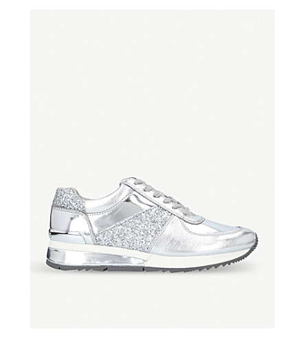 MICHAEL MICHAEL KORS Allie metallic leather trainers (Silver