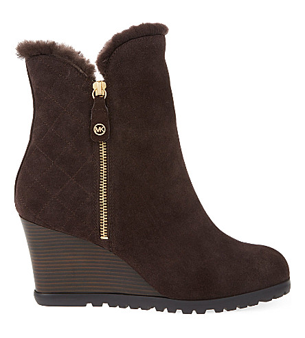 michael michael kors whitaker quilted suede wedge boots