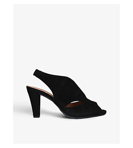 CARVELA COMFORT Arabella cutout heeled suede sandals (Black