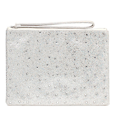 CARVELA Gamma embelllished metallic-silver pouch (Silver