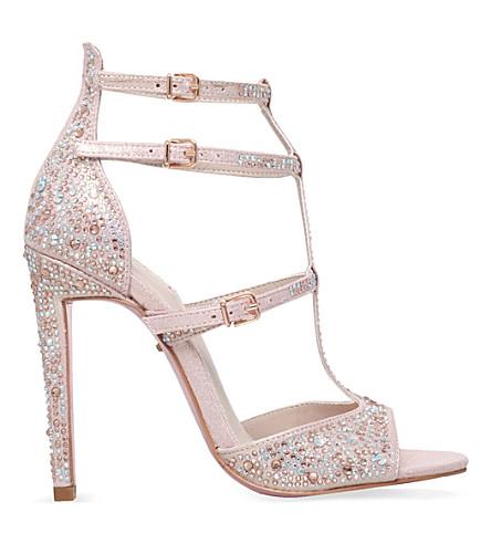 CARVELA Gaye embellished-microsuede heeled sandals (Pink