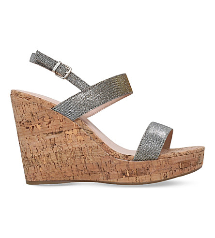 CARVELA Kay metallic wedge sandals (Pewter