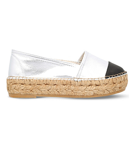 KG KURT GEIGER Mellow metallic-leather espadrilles (Silver