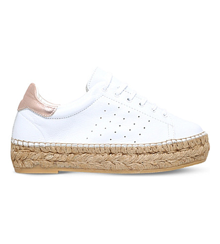 KG KURT GEIGER Lovebug leather flatform trainers (White