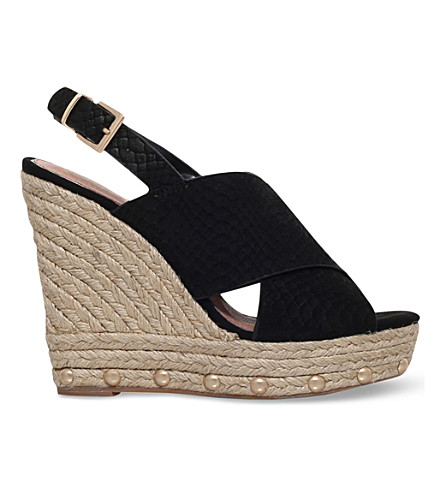 KG KURT GEIGER March suede wedge sandals (Black