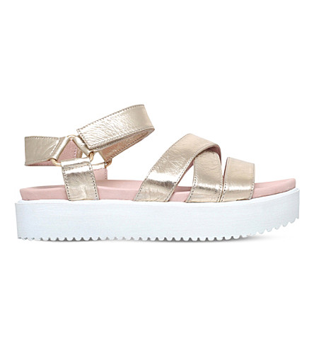 KG KURT GEIGER Miami leather flatform sandals (Metal+comb