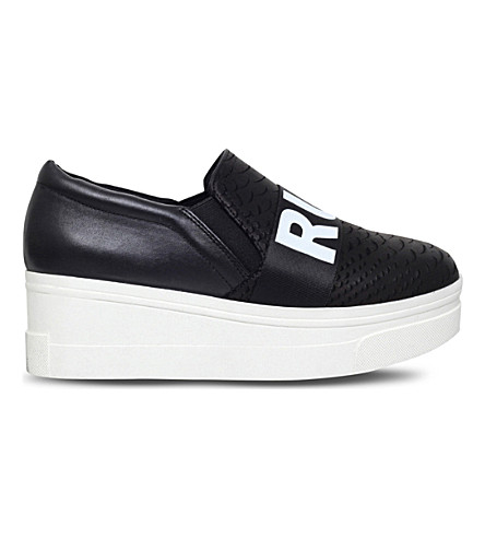 KG KURT GEIGER Lover leather flatform trainers (Black
