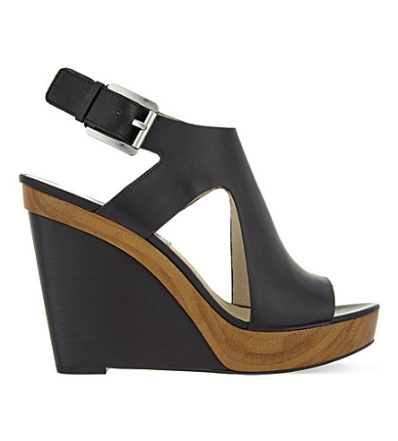 MICHAEL MICHAEL KORS Josephine leather wedge sandals (Black