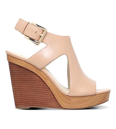 MICHAEL MICHAEL KORS Josephine leather wedge sandals (Beige