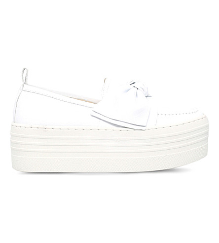 KG KURT GEIGER Lucky leather flatform shoes (White