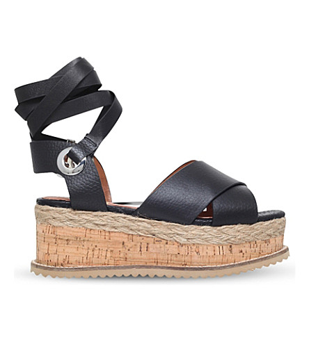 KG KURT GEIGER Noah leather flatform sandals (Black