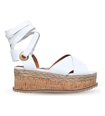 KG KURT GEIGER Noah leather flatform sandals (White