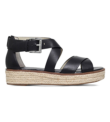 MICHAEL MICHAEL KORS Darby leather flatform sandals (Black