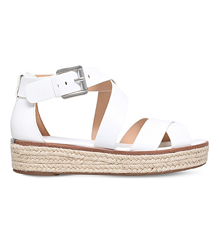MICHAEL MICHAEL KORS Darby leather flatform sandals (White