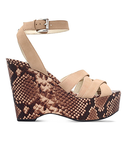 MICHAEL MICHAEL KORS Megan suede wedge sandals (Taupe+comb